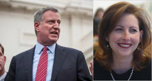 Bill de Blasio - EVIL (left) and Eva Moskowitz - GOOD (right)